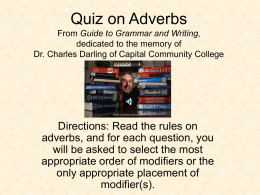 Quiz on Adverbs