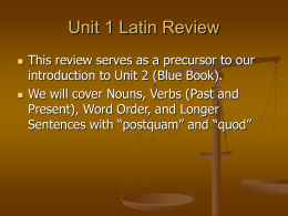 Unit 1 Latin Review