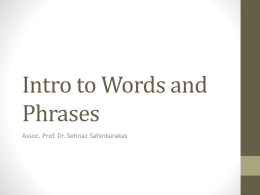 Intro to Words and Phrases