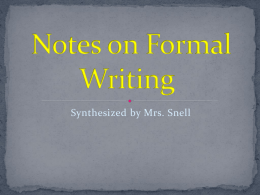 Notes on Formal Writing