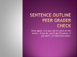 Sentence Outline Peer Grader Procedurex