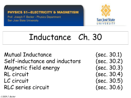 1 Inductance, RL Circuits, Energy Stored in an Inductor