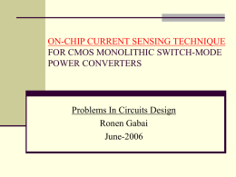ON-CHIP CURRENT SENSING TECHNIQUE FOR CMOS …