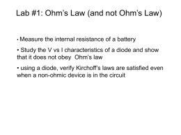 Lab #1: Ohm's Law (and not Ohm's Law)