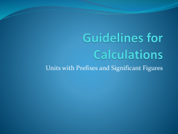 Guidelines for Calculations
