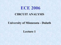 Lecture 1 - University of Minnesota Duluth