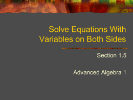 Solve Equations With Variables on Both Sides
