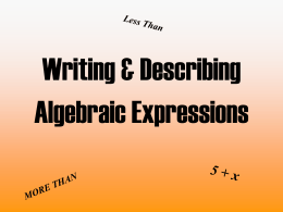 Evaluating and Writing Variable Expressions
