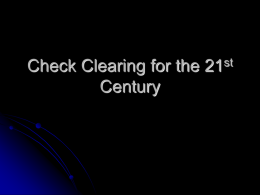 Check Clearing Explained - University of Notre Dame