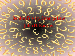 Benford`s Law
