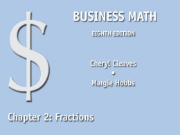 Review of Fractions - Pearson Higher Education