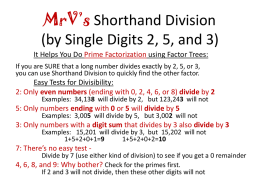 MrV*s Shorthand Division (for Single Digits)