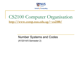 Number Systems and Codes