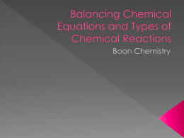U3 Balancing Chemical Reaction Equations - Alliance Ouchi