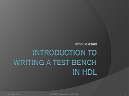 Guest Lecture by M. Allani: Introduction to Writing a Test Bench in HDL