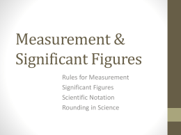 Measurement & Significant Figures
