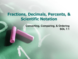 Fractions, Decimals, Percents, & Scientific Notation