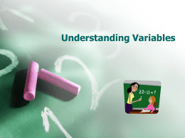 Ernys Understanding Variables - TN-5thGrade