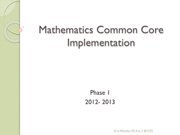 Mathematics Common Core Implementation