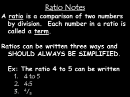 Ratios and Unit Rates Notes