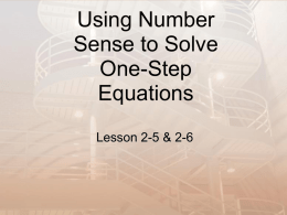 Using Number Sense to Solve One