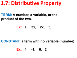 1_7 Distributive Property
