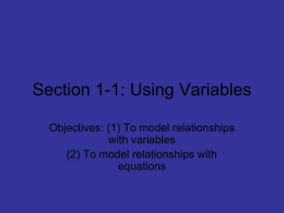 Section 1-1: Using Variables