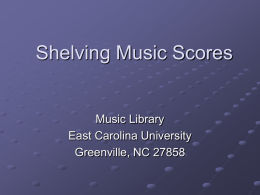 Call Numbers for Music - East Carolina University