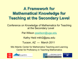 Mathematical Knowledge for Teaching at the Secondary Level