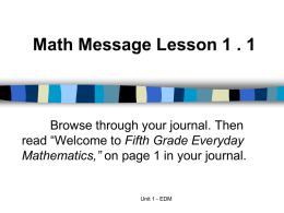 Math Message Lesson 1 . I - Franklin Elementary School
