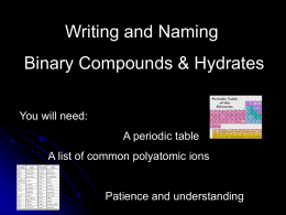 Writing and Naming Binary Compounds