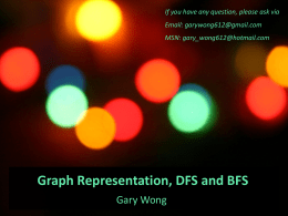 Graph Representation, DFS and BFS