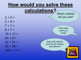 Key Stage 1 Maths Workshop Questions