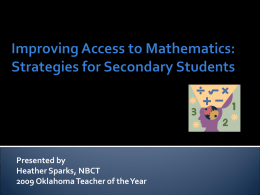 Improving Access to Math: Strategies for Secondary