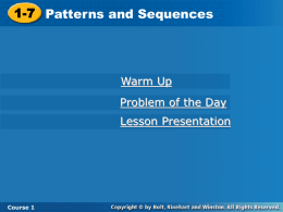 1_7 Patterns and Sequences Notes
