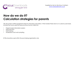 Calculation strategies for parents powerpoint version