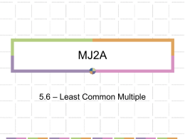 MJ2A - Ch 5.6 Least Common Multiple LCM