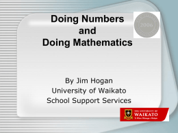 Doing Numbers and Doing Mathematics