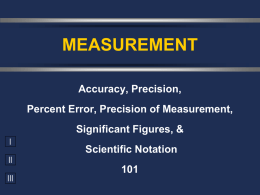 Accuracy, Precision, Percent Error, Significant