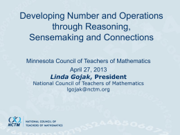 NCTM Overview for ASSM - Minnesota Council of Teachers of