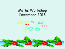 Maths Workshop July 2013