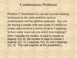 Combinations Problems
