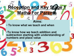 Maths for KS1 and Reception Parents