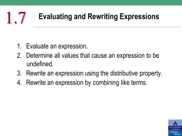 Evaluating and Rewriting Expressions