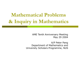 Research in Mathematics - National Institute of Education