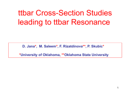 ttbar Cross-Section Studies leading to ttbar Resonance