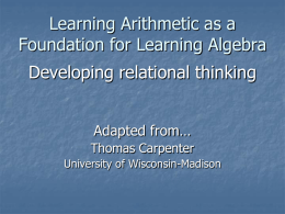 From Arithmetic to Algebraic Reasoning