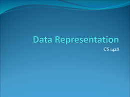Data Representation - Department of Computer Science