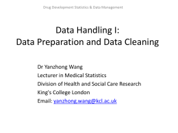 Data Handling I: Data Preparation and Data Cleaning