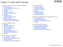 Chapter 2: Limits and Continuity